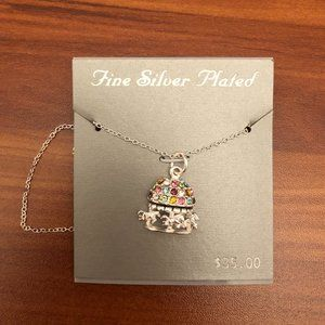 Jewelry - Silver Plated Pendant Necklace multicolor gemstone